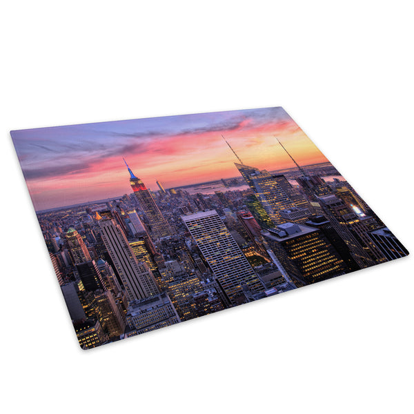 Pink Blue New York Sunset Glass Chopping Board Kitchen Worktop Saver Protector - C863-Scenic Chopping Board-WhatsOnYourWall