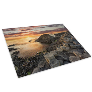 Giants Causeway Sunset Glass Chopping Board Kitchen Worktop Saver Protector - C879-Scenic Chopping Board-WhatsOnYourWall