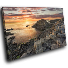 SC879 Framed Canvas Print Colourful Modern Scenic Wall Art - Giants Causeway Sunset Ireland