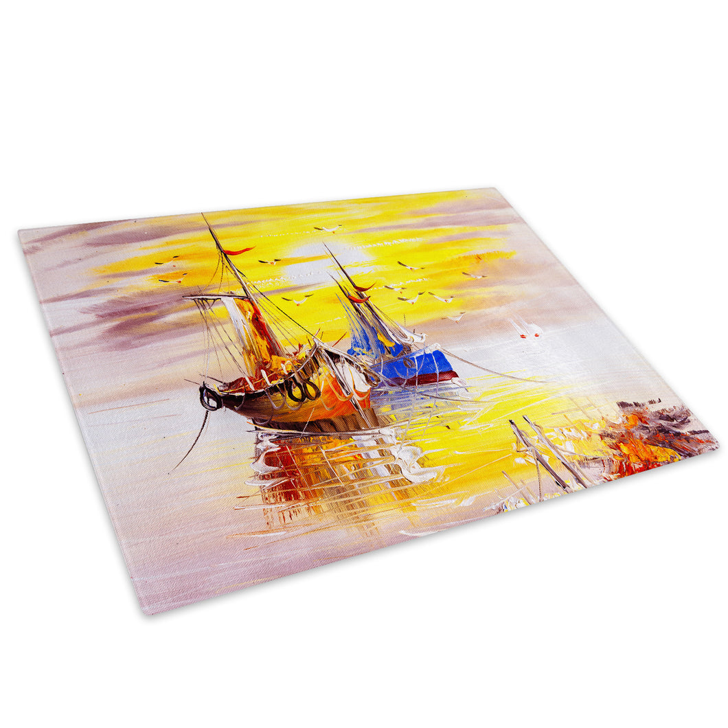 Colourful Ships Sunset Glass Chopping Board Kitchen Worktop Saver Protector - C884-Scenic Chopping Board-WhatsOnYourWall