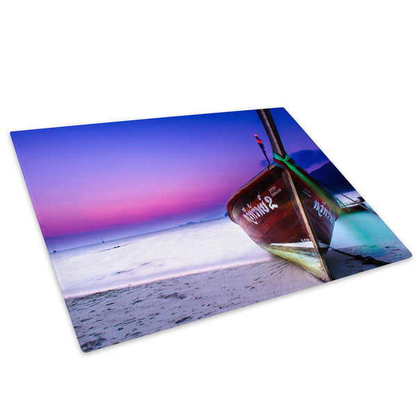 Blue Purple Red Boat Sunset Glass Chopping Board Kitchen Worktop Saver Protector - C900-Scenic Chopping Board-WhatsOnYourWall