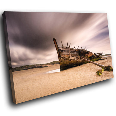 SC906 Framed Canvas Print Colourful Modern Scenic Wall Art - Retro Beach Shipwreck Ireland