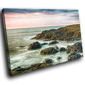 SC909 Framed Canvas Print Colourful Modern Scenic Wall Art - Giants Causeway Ireland Cool