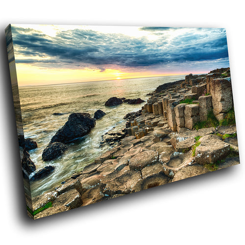 SC910 Framed Canvas Print Colourful Modern Scenic Wall Art - Giants Causeway Ireland Cool
