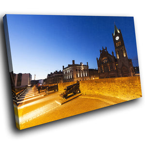 SC911 Framed Canvas Print Colourful Modern Scenic Wall Art - Derry Guild Hall Ireland Sunset