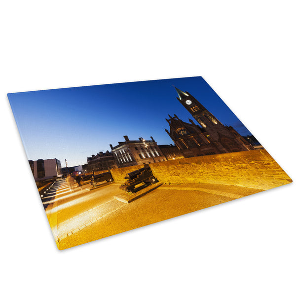 Derry Guild Hall Sunset Glass Chopping Board Kitchen Worktop Saver Protector - C911-Scenic Chopping Board-WhatsOnYourWall