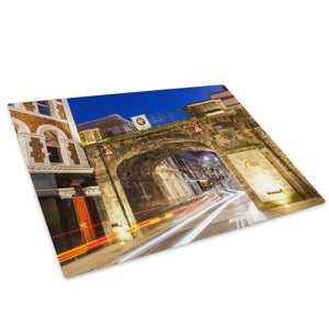 Derry City Walls Sunset Glass Chopping Board Kitchen Worktop Saver Protector - C912-Scenic Chopping Board-WhatsOnYourWall