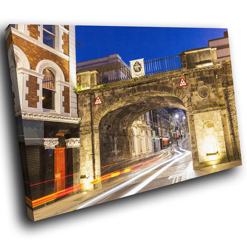 SC912 Framed Canvas Print Colourful Modern Scenic Wall Art - Derry City Walls Ireland Sunset