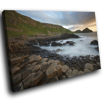 SC916 Framed Canvas Print Colourful Modern Scenic Wall Art - Giants Causeway Ireland Cool