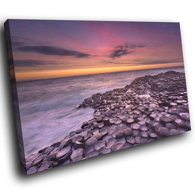 SC919 Framed Canvas Print Colourful Modern Scenic Wall Art - Giants Causeway Ireland Cool