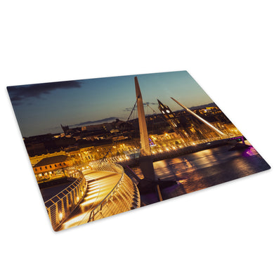 Derry Peace Bridge Sunset Glass Chopping Board Kitchen Worktop Saver Protector - C920-Scenic Chopping Board-WhatsOnYourWall