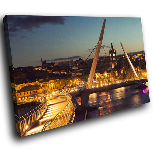 SC920 Framed Canvas Print Colourful Modern Scenic Wall Art - Derry Peace Bridge Sunset
