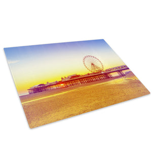 Pier Carnival Sunset Retro Glass Chopping Board Kitchen Worktop Saver Protector - C923-Scenic Chopping Board-WhatsOnYourWall