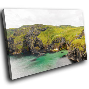 SC926 Framed Canvas Print Colourful Modern Scenic Wall Art - Green Ocean Cliff Ireland