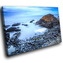SC928 Framed Canvas Print Colourful Modern Scenic Wall Art - Giants Causeway Ireland Cool