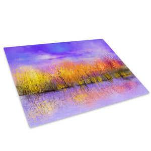Yellow Purple Trees Retro Glass Chopping Board Kitchen Worktop Saver Protector - C930-Scenic Chopping Board-WhatsOnYourWall