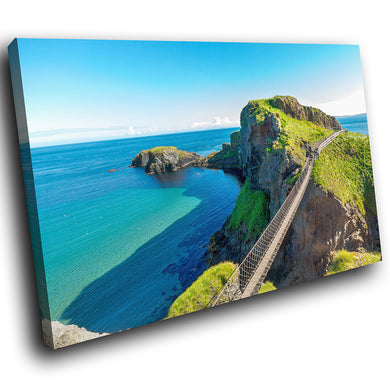 SC941 Framed Canvas Print Colourful Modern Scenic Wall Art - Carrick A Rede Bridge Ireland