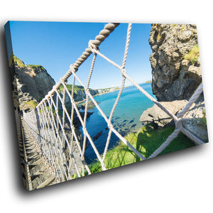 SC942 Framed Canvas Print Colourful Modern Scenic Wall Art - Carrick A Rede Bridge Ireland