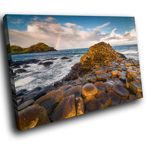 SC945 Framed Canvas Print Colourful Modern Scenic Wall Art - Giants Causeway Ireland Cool