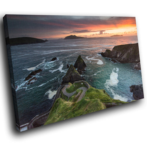 SC946 Framed Canvas Print Colourful Modern Scenic Wall Art - Ocean Cliff Sunset Ireland