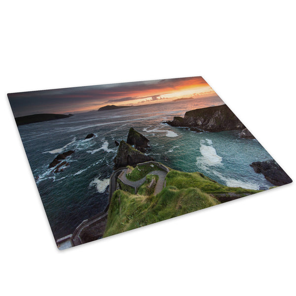Ocean Cliff Sunset Ireland Glass Chopping Board Kitchen Worktop Saver Protector - C946-Scenic Chopping Board-WhatsOnYourWall