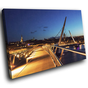 SC950 Framed Canvas Print Colourful Modern Scenic Wall Art - Peace Bridge Derry City Sunset