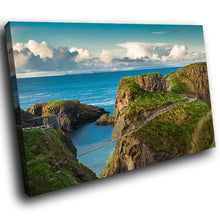 SC951 Framed Canvas Print Colourful Modern Scenic Wall Art - Carrick A Rede Rope Bridge Ireland