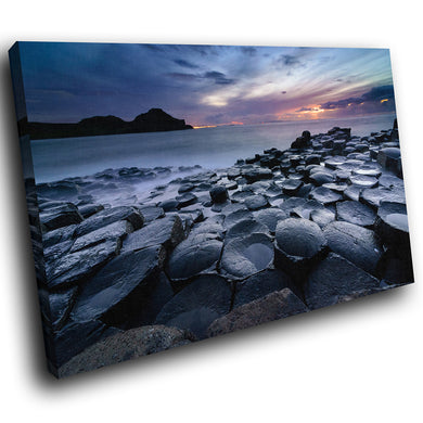 SC952 Framed Canvas Print Colourful Modern Scenic Wall Art - Giants Causeway Ireland Sunset