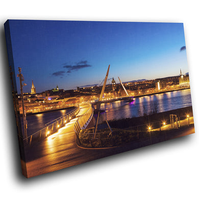 SC966 Framed Canvas Print Colourful Modern Scenic Wall Art - Peace Bridge Derry City Sunset