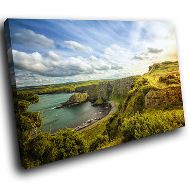SC967 Framed Canvas Print Colourful Modern Scenic Wall Art - Giants Causeway Ireland Nature