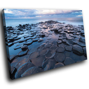 SC968 Framed Canvas Print Colourful Modern Scenic Wall Art - Giants Causeway Ireland Nature