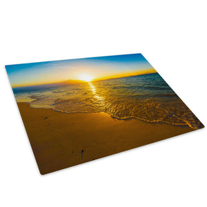 Yellow Blue Beach Sunset Glass Chopping Board Kitchen Worktop Saver Protector - C974-Scenic Chopping Board-WhatsOnYourWall