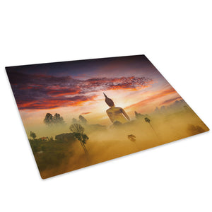 Orange Blue Buddha Sunset Glass Chopping Board Kitchen Worktop Saver Protector - C979-Scenic Chopping Board-WhatsOnYourWall