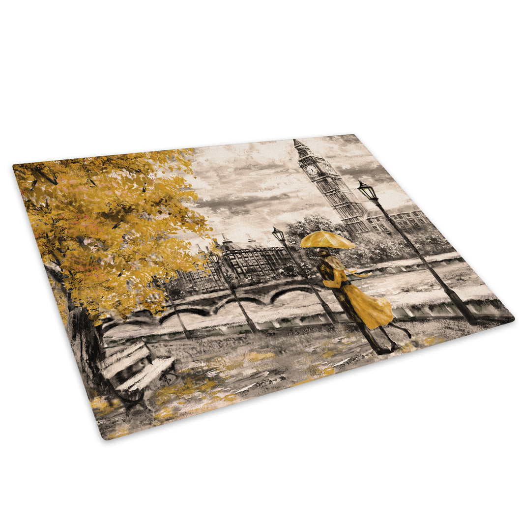 Yellow Black White London Glass Chopping Board Kitchen Worktop Saver Protector - C980-Scenic Chopping Board-WhatsOnYourWall