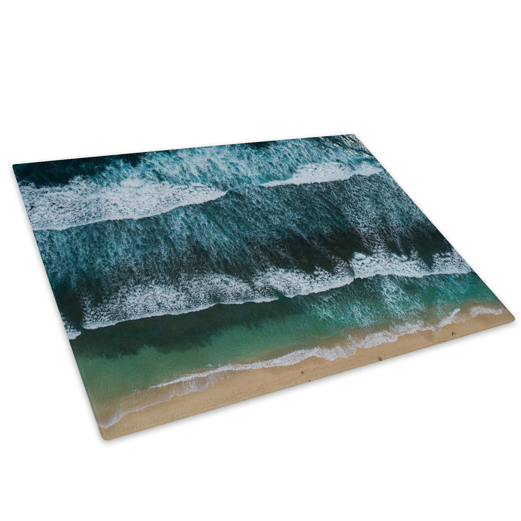 Beach Green Blue Waves Glass Chopping Board Kitchen Worktop Saver Protector - C981-Scenic Chopping Board-WhatsOnYourWall