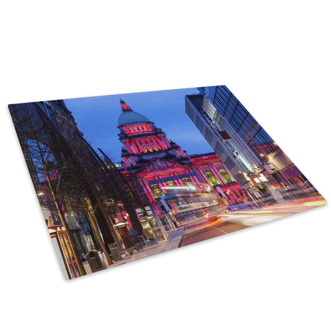 Colourful Belfast City Hall Glass Chopping Board Kitchen Worktop Saver Protector - C982-Scenic Chopping Board-WhatsOnYourWall
