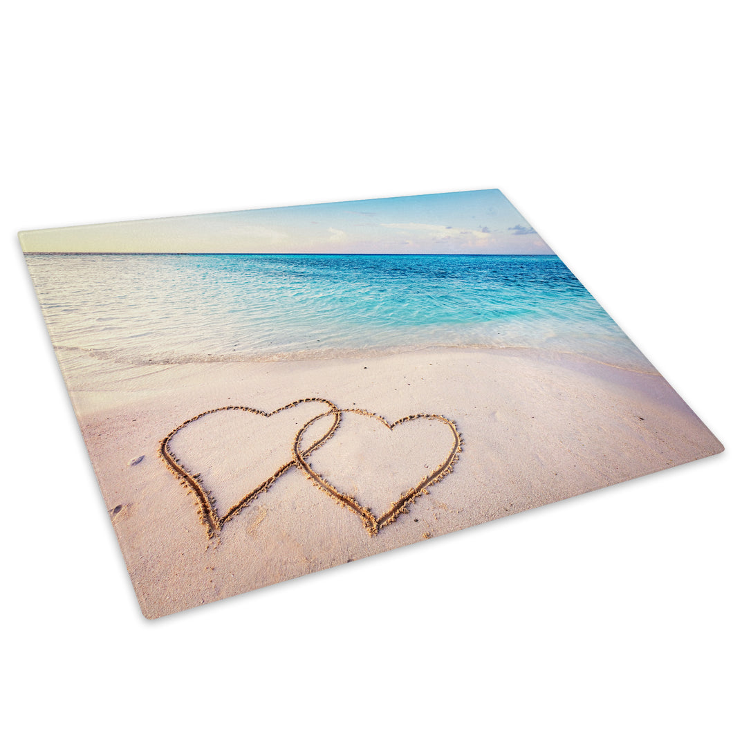 Blue Yellow Beach Hearts Glass Chopping Board Kitchen Worktop Saver Protector - C983-Scenic Chopping Board-WhatsOnYourWall
