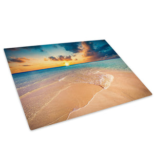 Orange Blue Beach Sunset Glass Chopping Board Kitchen Worktop Saver Protector - C984-Scenic Chopping Board-WhatsOnYourWall