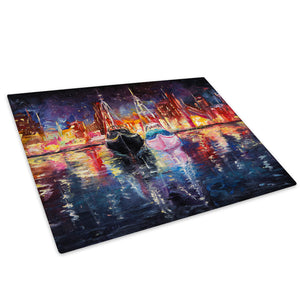 Colourful Boats City Sky Glass Chopping Board Kitchen Worktop Saver Protector - C985-Scenic Chopping Board-WhatsOnYourWall