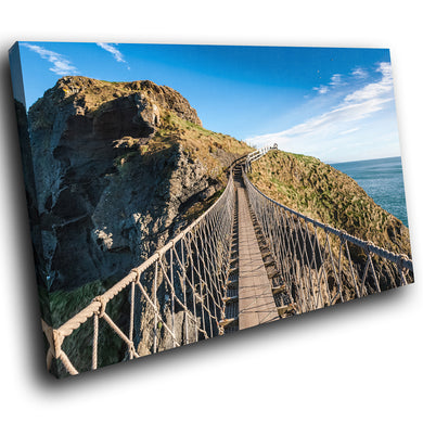 SC986 Framed Canvas Print Colourful Modern Scenic Wall Art - Carrick A Rede Rope Bridge Ireland