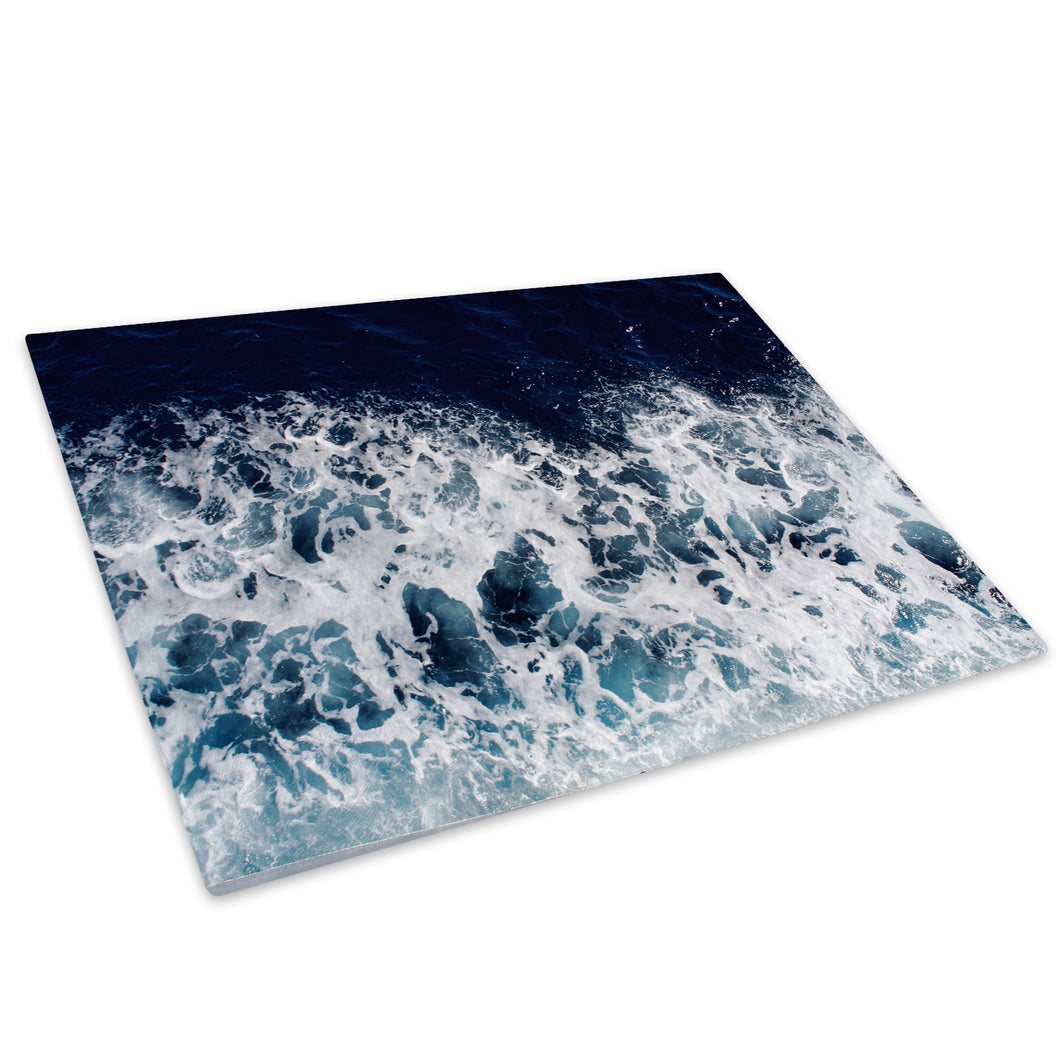 Overhead blue Ocean Waves Glass Chopping Board Kitchen Worktop Saver Protector - C989-Scenic Chopping Board-WhatsOnYourWall