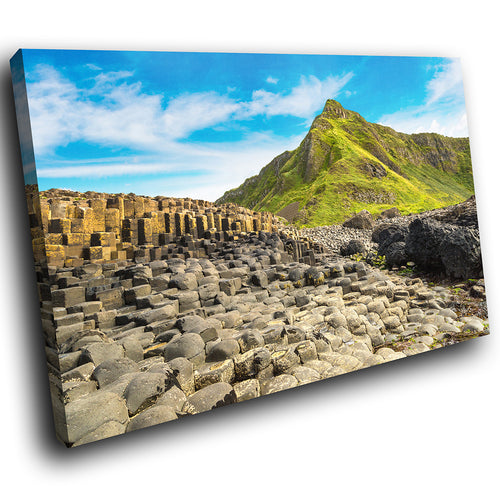 SC990 Framed Canvas Print Colourful Modern Scenic Wall Art - Giants Causeway Ireland Nature