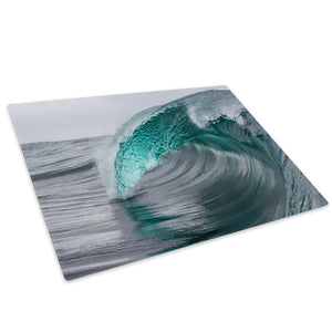 Blue Teal Grey Wave Nature Glass Chopping Board Kitchen Worktop Saver Protector - C992-Scenic Chopping Board-WhatsOnYourWall