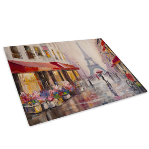 Colourful Paris Street Glass Chopping Board Kitchen Worktop Saver Protector - C994-Scenic Chopping Board-WhatsOnYourWall