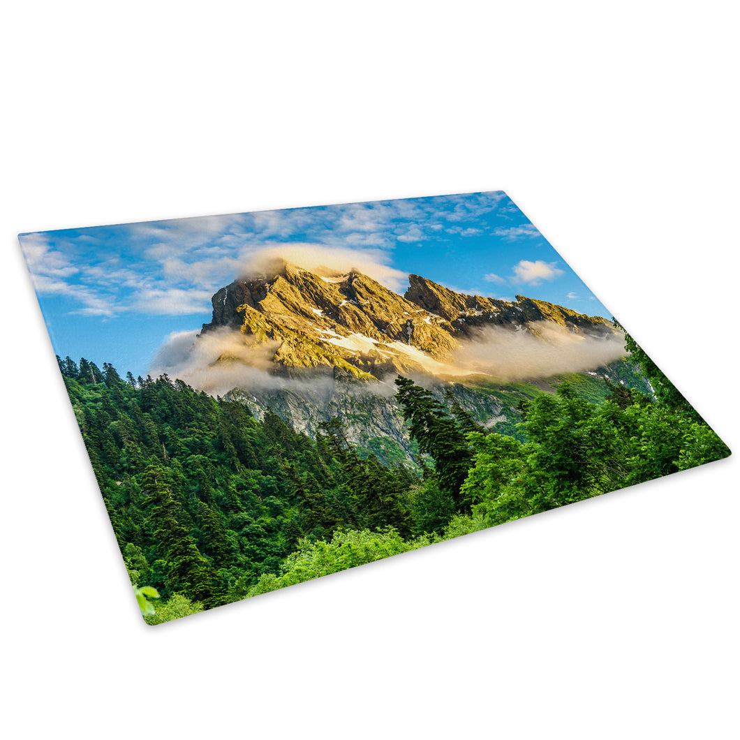 Green Blue Forest Mountain Glass Chopping Board Kitchen Worktop Saver Protector - C998-Scenic Chopping Board-WhatsOnYourWall