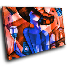 E001 Blue Red Retro Abstract Woman Modern Canvas Wall Art Large Picture Prints-Canvas Print-WhatsOnYourWall