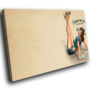 E002 Vintage Retro Pinup Girl Cool Modern Canvas Wall Art Large Picture Prints-Canvas Print-WhatsOnYourWall
