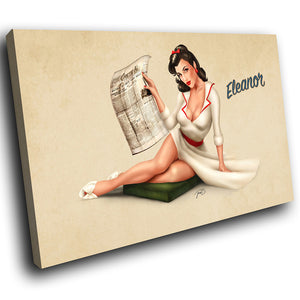 E003 Vintage Retro Pinup Girl Cool Modern Canvas Wall Art Large Picture Prints-Canvas Print-WhatsOnYourWall