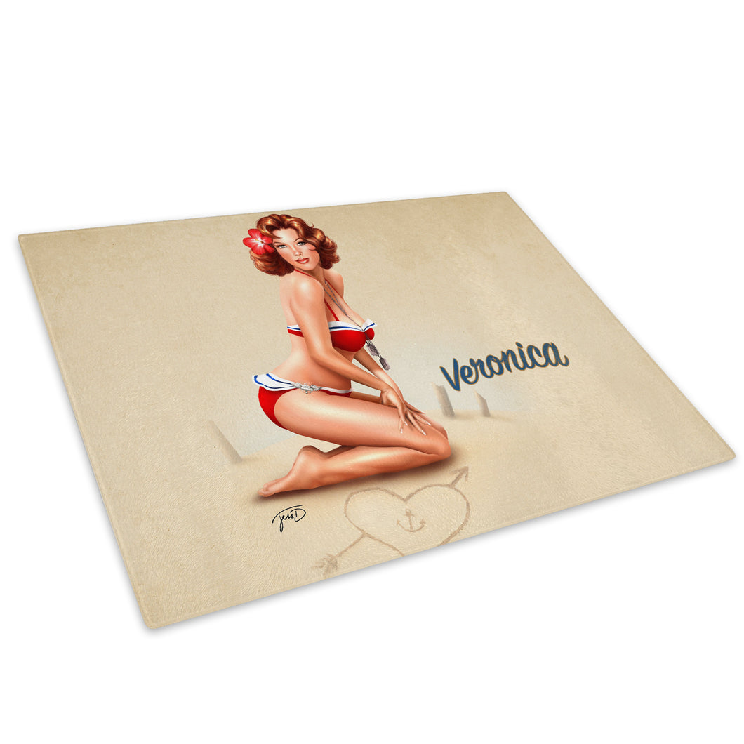 Vintage Pinup Girl Glass Chopping Board Kitchen Worktop Saver Protector - E004-People Chopping Board-WhatsOnYourWall