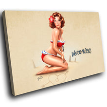E004 Vintage Retro Pinup Girl Cool Modern Canvas Wall Art Large Picture Prints-Canvas Print-WhatsOnYourWall